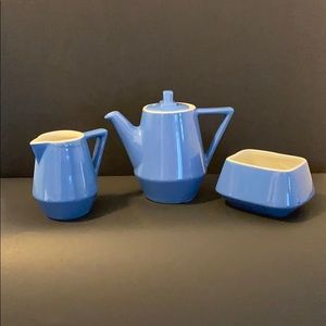 Hall Railroad Blue White Coffee Set